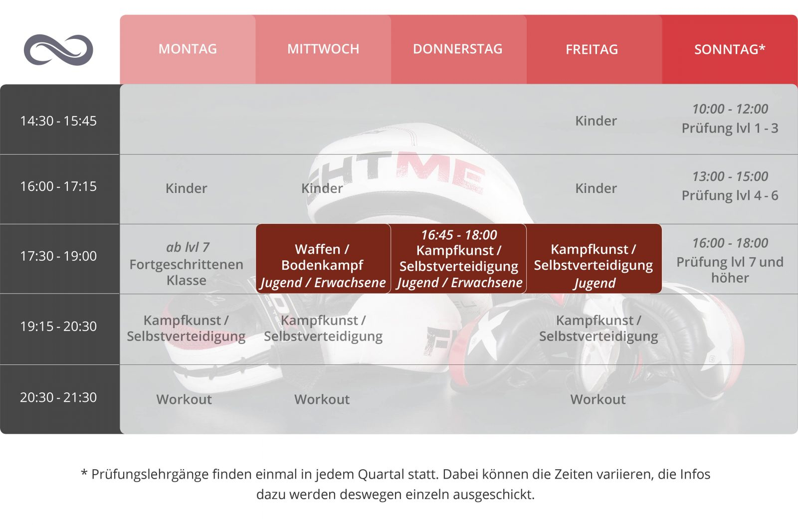 Stundenplan Martial Arts Systematics Wels Jugend